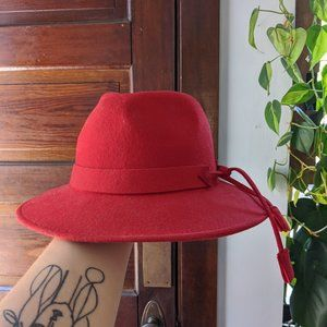 Vintage Wool Bright Red Brimmed Hat with Tassle